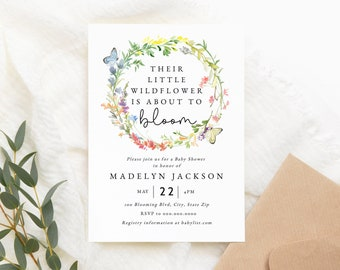 Wildflower Baby in Bloom Shower Invitation Template, Customizable Floral and Butterfly Baby Shower, Editable Digital Invite [id:7152194]