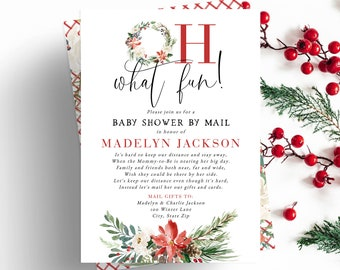 Christmas Baby Shower By Mail Invitation,  Oh What Fun Winter Baby Shower Digital Invite Template, Instant Download [id:5513732]