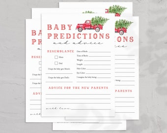 Christmas Tree Truck Back Baby Shower Baby Predictions and Advice, Baby Shower Game, Advice for Parents-to-be Instant Download [id:5456694]