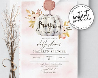 Pink Little Pumpkin Baby Shower Invitation, Fall Baby Shower Invitation, Autumn Baby Shower, Instant Download [id:2124185,2124274]