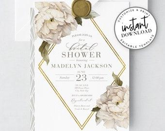 Peony Bridal Shower Invitation Template, Ivory Peony Bridal Shower Invite - Personalizable, Editable, Printable [id:2976647,2976952]