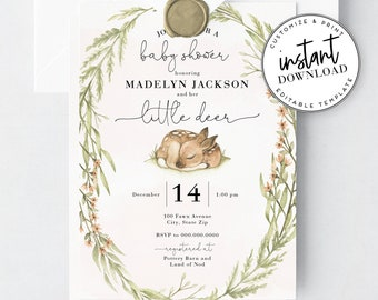 Little Deer Baby Shower Invitation, Woodland Deer Baby Shower Invite and Envelope Liner, Instant Download [id:2768552,2768558]