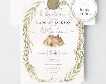 Little Deer Baby Shower Invitation, Woodland Deer Baby Shower Invite, Oh Deer Baby Shower Invitation, Baby Girl Shower Invite