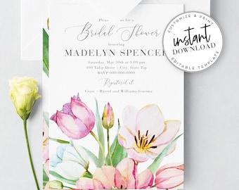 Spring Tulip Bridal Shower Invitation, Floral Bridal Shower Invites, Digital Invite Template, Instant Download [id:3938303,3938308]