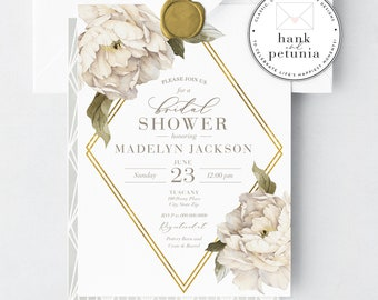 Watercolor Peony Bridal Shower Invitation, Ivory Peony Bridal Shower Invitation, Watercolor Peony Bridal Shower, Lined Envelopes