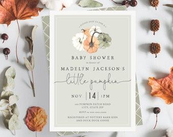 Green Little Pumpkin Baby Shower Invitation, Fall Baby Shower Digital Invite Template, Autumn Baby Shower Instant Download [id:5304517]