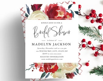Red and White Floral Bridal Shower Invitation, Winter Bridal Shower Invite Template, Watercolor Bridal Shower Instant Download [id:5233976]