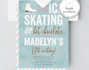 Ice Skating Birthday Invitation, Winter Wonderland First Birthday Invitation, Ice Skate Birthday Party Invite, Winter Party Invitation