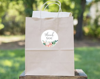Mint and Coral Bridal Shower Customizable Favor Stickers, Wedding Favor Tag, Floral Thank You Sticker Instant Download [id:4489374]