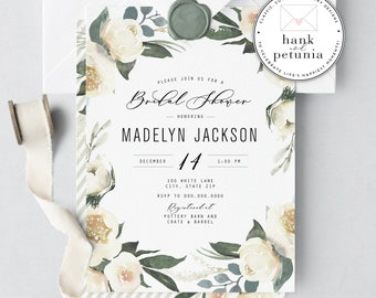 Winter White Bridal Shower Invitation, White Floral Bridal Shower Invitation, Winter Bridal Shower, Lined Envelopes
