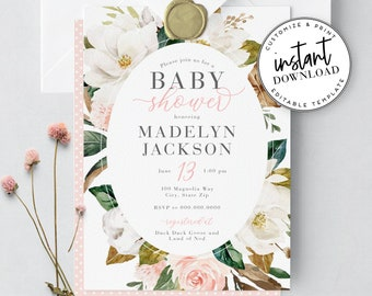 Beautiful Magnolia Flower Baby Shower Invitation, Watercolor Floral Baby Girl Shower Invite Template, Instant Download [id:3975139,3975161]