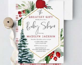 The Greatest Gift Baby Shower Invitation, Winter Baby Shower Digital Invite Template, December Baby Shower Instant Download [id:5187341]