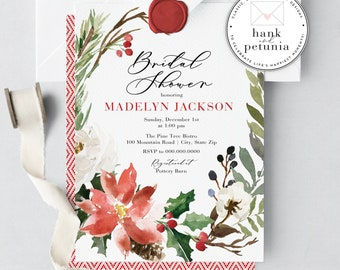 Elegant Winter Bridal Shower Invitations, Holiday Shower, Christmas Bridal, digital or printed invitations, lined envelopes