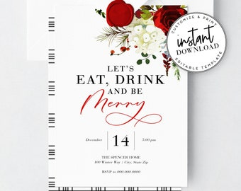 Eat Drink and Be Merry Holiday Party Invitation, Elegant Christmas Party Invite, Envelope Liner, Instant Download [id:2767208,2767231]