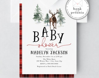 Cute Little Deer Baby Shower Invitation, Winter Baby Boy Shower Invite, Woodland Baby Shower Invitations, Lumberjack Baby Shower