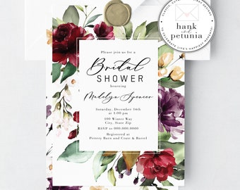 Watercolor Merlot Floral Bridal Shower Invitation, Winter Bridal Shower Invite, Boho Bridal Shower Invitations, Couples Shower Invites