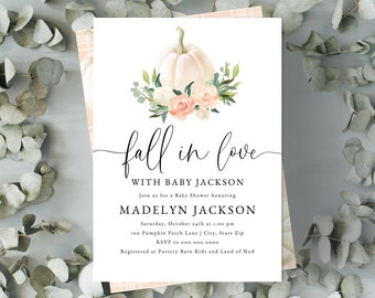 Fall in Love with Baby Shower Invitation, Fall Baby Shower Digital Invite Template, Little Pumpkin Baby Shower Instant Download [id:5122899]