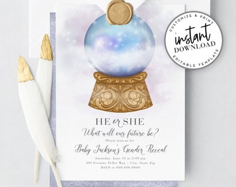 Crystal Ball Gender Reveal Invitation, Fortune Teller Gender Reveal Party Invite Template, Instant Download [id:3947828,3947829]