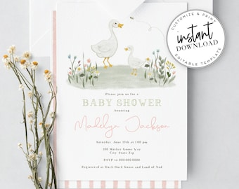 Mother Goose Nursery Rhyme Baby Shower Invitation, Storybook Baby Shower Invite Template, Instant Download [id:3979234,3979240]