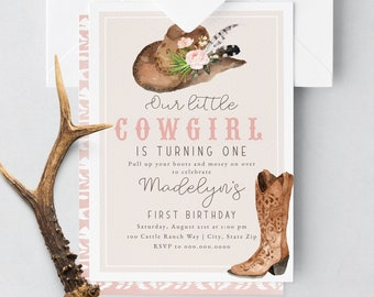 Little Cowgirl First Birthday Invitation, Western Birthday Party Digital Invite Template, Wild West Party Instant Download [id:5243756]