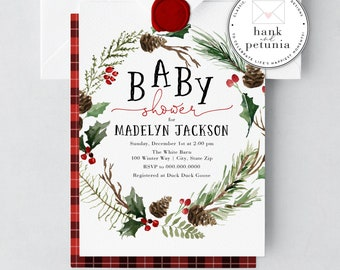 Winter Baby Shower Invitation, Woodland Baby Shower Invite, Buffalo Check Baby Shower Invitations, Plaid and Pine Tree Baby Shower Invites