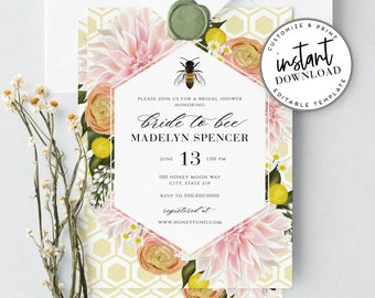 Bee Bridal Shower Invitations, Honey Bee Floral Botanical Bridal Shower Invites, Meant to Bee, Instant Download [id:3905320,3905321]