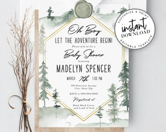 Let the Adventure Begin Pine Tree Baby Shower Invitation, Watercolor Woodland Baby Shower Template, Instant Download [id:3959339,3959355]