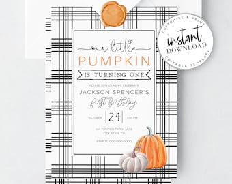 Cute Pumpkin Birthday Invitation, Fall Birthday Invite, Pumpkin Party Invitation and Envelope Liner, Instant Download [id:2766798,2066809]