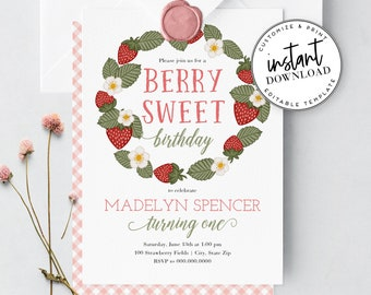 Berry Sweet Strawberry Birthday Party Invitation, Berry First Birthday Invite and Envelope Liner, Instant Download [id:3918832,3918842]