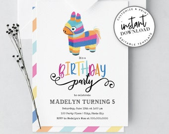 Piñata Birthday Party Invitation, Mexican Birthday Party Invite Template, Instant Download [id:3979954,3980013]
