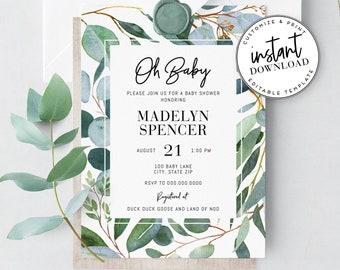 Eucalyptus Greenery Baby Shower Invitation, Watercolor Greenery Baby Shower Invite Template, Instant Download [id:3896500,3896622]