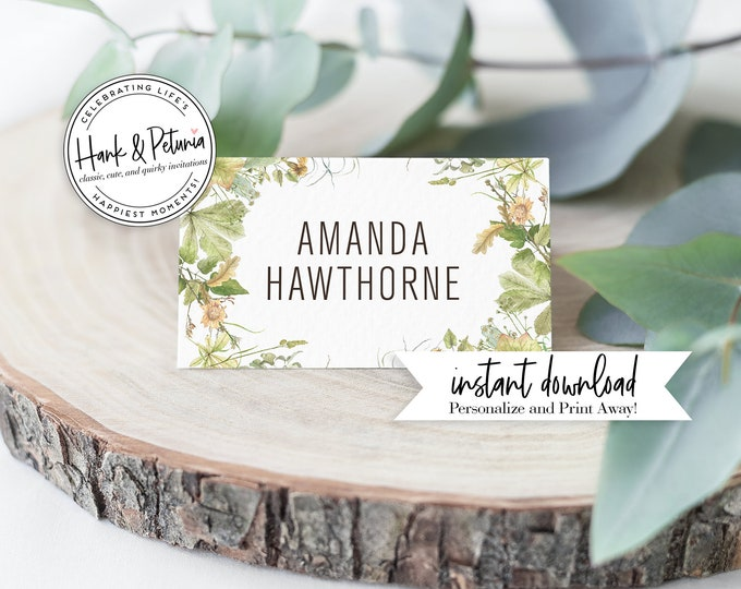 Featured listing image: Rustic Gender Neutral Woodland Baby Shower Tented Place Cards or Food Labels, Instant Download [id:2016550]