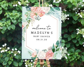 Mint and Coral Baby Shower Welcome Sign, Customizable Welcome Sign, Instant Download [id:4488403]
