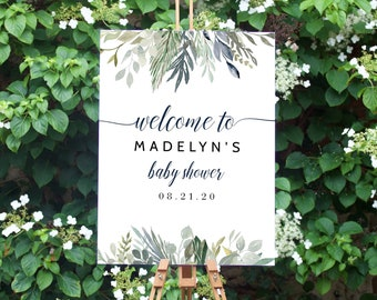 Blue and Green It's a Boy Baby Shower Welcome Sign, Customizable Baby Shower Welcome Sign, Instant Download [id:4488799]