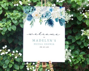 Something Blue Bridal Shower Welcome Sign, Customizable Blue Bridal Shower Welcome Sign, Instant Download [id:4489266]