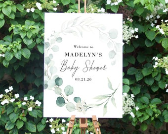 Minimalist Eucalyptus Welcome Sign, Customizable Greenery Welcome Sign, Instant Download [id:4487992]