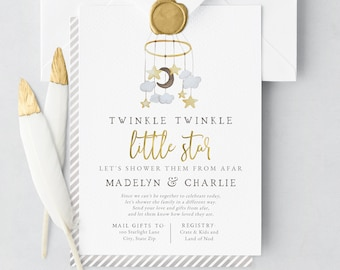 Twinkle Twinkle Little Star Baby Shower By Mail Invitation, Gray and Gold Baby Shower Digital Invite Template, Instant Download [id:5853054]