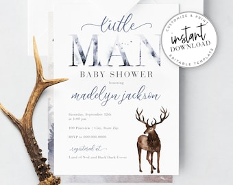 Little Man Baby Shower Invitation, Pine Tree Forest Baby Shower Invite Template, Baby Boy Shower Instant Download [id:4326186,4326301]