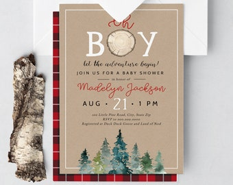Oh Boy Lumberjack Baby Shower Invitation, Let the Adventure Begin Baby Shower Digital Invite Template, Shower Instant Download [id:5207481]