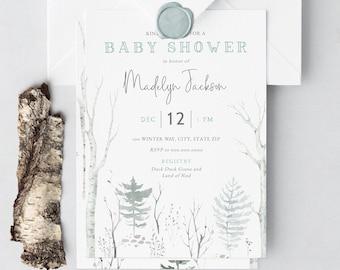 Winter Woodland Forest Baby Shower Invitation, Birch Tree Forest Digital Invite Template, Boy Baby Shower Instant Download [id:5268913]