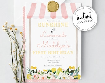 Lemonade Birthday Party Invitation, Pink Lemonade Birthday Invite Template, Summer Birthday Party Instant Download [id:4001341,4001355]