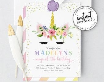 Magical Unicorn Birthday Party Invitation, Little Girl First Birthday Invite Template, Instant Download [id:4304142,4304324]