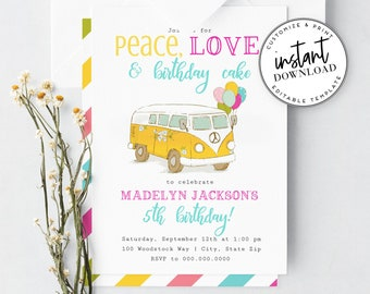 60's Hippie Birthday Invitation Template, Peace Love and Birthday Cake Birthday Party Invite, Instant Download [id:4325587,4325601]