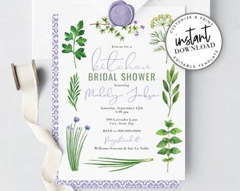 Herbs & Spices Kitchen Bridal Shower Invitations, Couples Shower Invites, Cooking Shower Invitation, Instant Download [id:4261292,4261587]