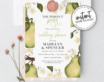 Perfect Pear Wedding Shower Invitations, Couples Shower Invites, Wedding Party Invitation, Instant Download [id:3921002,3921013]