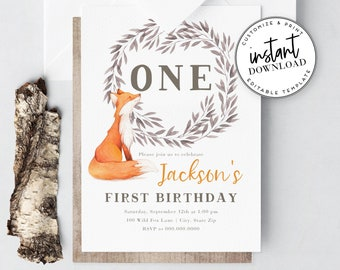 Woodland Fox Birthday Party Invitation, Little Fox First Birthday Invite Template, Woodland Birthday Instant Download [id:4324268,4324274]