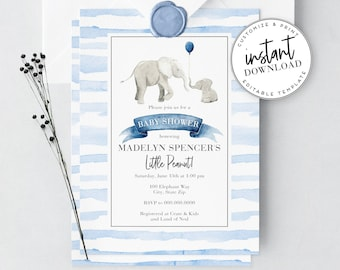 Little Peanut Elephant Baby Shower Invitation, Watercolor Elephant Baby Shower Invite Template, Instant Download [id:3937502,3937508]
