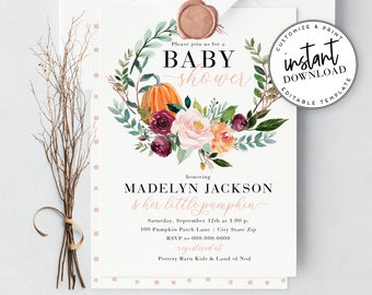 Little Pumpkin Baby Shower Invitation, Watercolor Fall Harvest Baby Shower Invite Template, Instant Download [id:4296885,4296893]