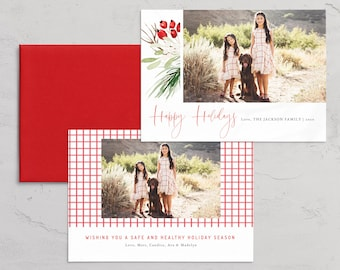 Watercolor Photo Christmas Card Template,  Digital Photo Holiday Invite Template, Christmas Card Instant Download [id:5496746]