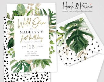 Watercolor Wild One Jungle Party Invitation, Jungle Birthday Invitation, Modern Jungle Birthday Invite, Envelope Liner
